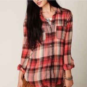 We the free anthropologie plaid button down